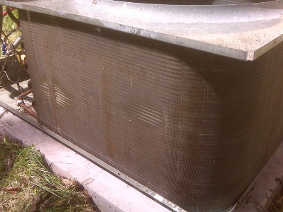 same condenser coil cleaned with chemical coil cleaner.