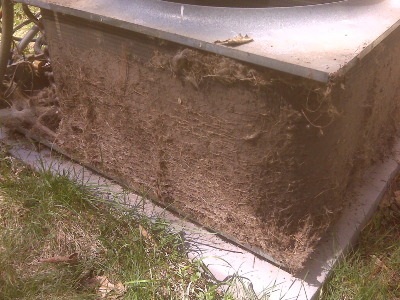 A dirty condenser coil outside a Phoenix home